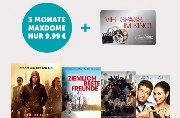 Kinogutschein und 3 Monate maxdome Paket Plus für 9,99 €