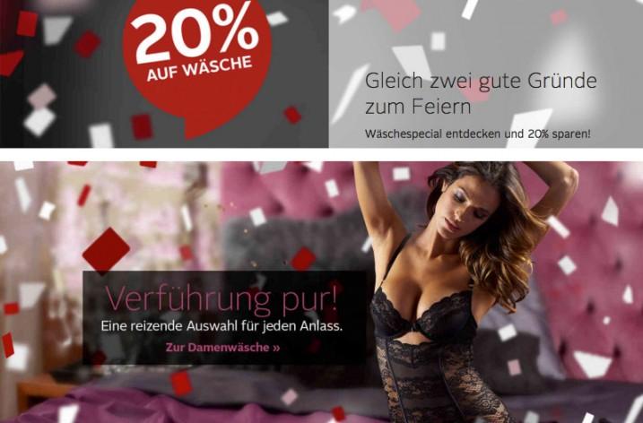 20% Gutschein auf Wäsche-Produkte @Otto-Onlineshop