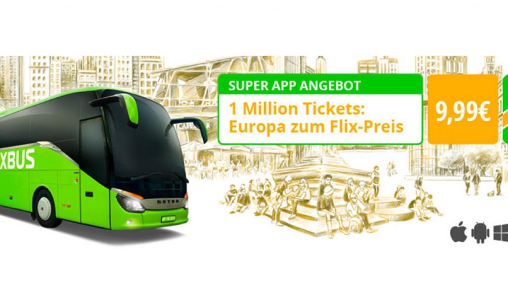 1 Mio. FlixBus Tickets für je nur 9,99€ über die App Aktion