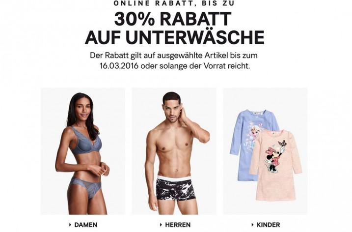 H&M Gutschein für gratis Versand und 30% Rabatt auf Unterwäsche